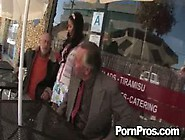 Horny waiter gets to fuck a busty babe at a restaurant hardcore style